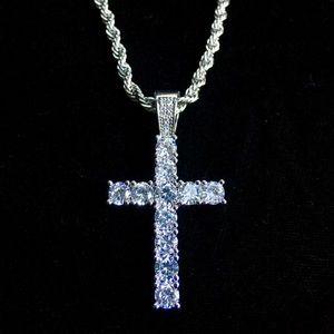 CROSS 18K WHITE GOLD DIAMONDS CZ CHAIN ITALY